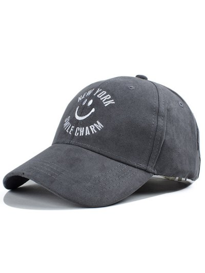 Smilling Face Letter Embroidery Faux Suede Baseball Hat