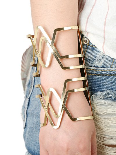 Hollow Out Cross V Shaped Long Cuff Bracelet