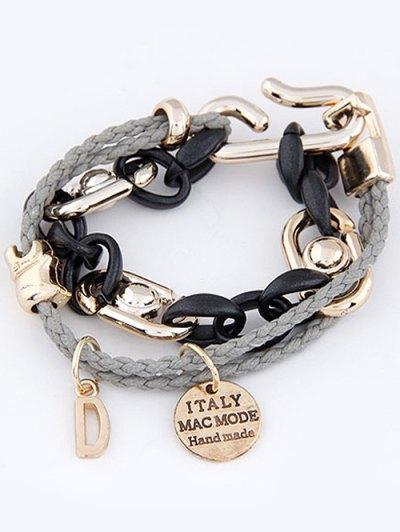 Disc Letter Braided Bracelet