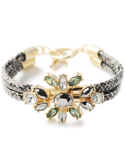 Faux Crystal PU Leather Bracelet