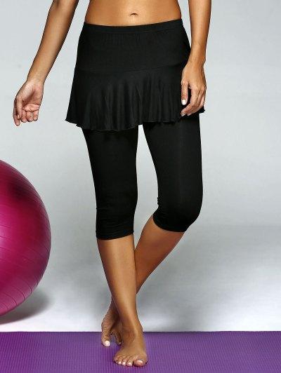 Elastic Waist Skirt Capri Gym Pants