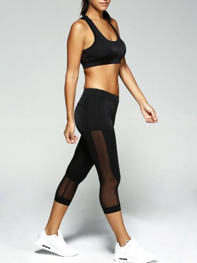 See Through Crop Top and Leggings Sport Suit