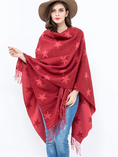 Five Pointed Star Pattern Tassel Edge Shawl Pashmina