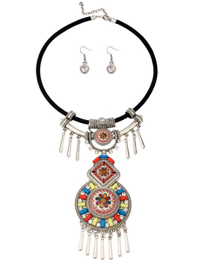 Faux Gem Blossom Geometric Jewelry Set