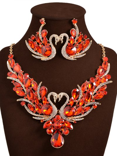 Faux Crystal Swan Wedding Jewelry Set