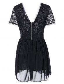 Lace Spliced Plunging Neck Sexy Birthday Dress - BLACK M