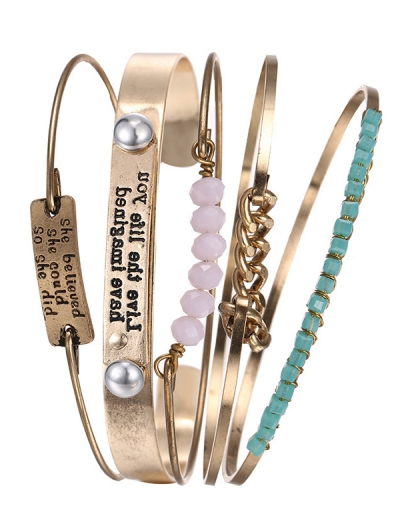 Engraved Letters Alloy Chain Beaded Bracelets