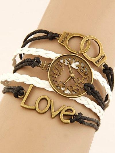 Clock Handcuffs Braided Bracelet