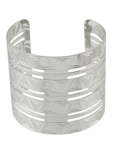 Punk Alloy Engraved Triangle Cuff Bracelet