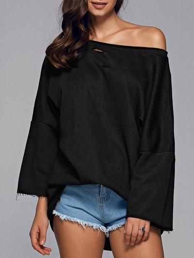 Sloping Shoulder Ripped Sweatshirt