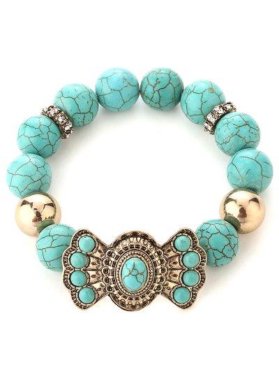 Bowknot Faux Turquoise Bead Bracelet
