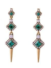 Rhinestone Embedded Rivet Drop Earrings GREEN: Earrings ...