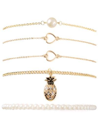 Faux Pearl Heart Pineapple Bracelet Set