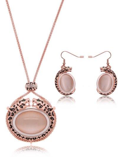 Faux Opal Leopard Jewelry Set