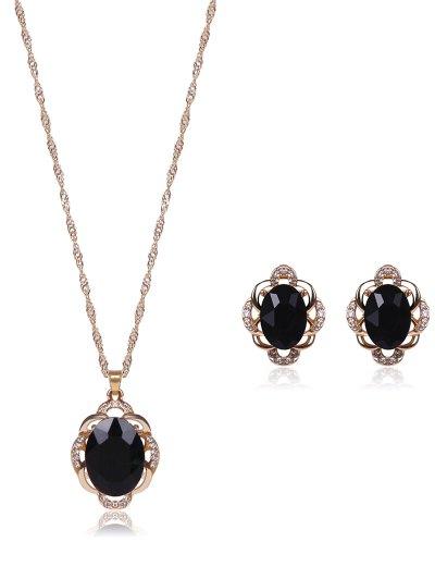 Faux Gem Rhinestone Jewelry Set