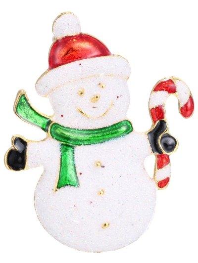 Alloy Snowman Christmas Candy Cane Brooch