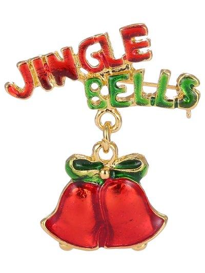 Alloy Jingle Bells Bows Christmas Brooch