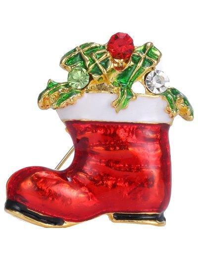 Alloy Rhinestone Leaf Christmas Shoe Brooch