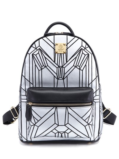Embroidery Geometric Pattern Backpack