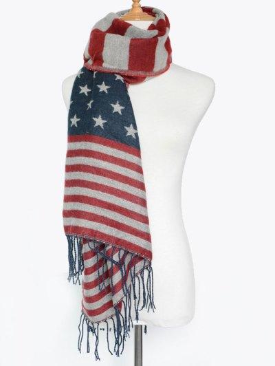 American Flag Tassel Shawl Scarf