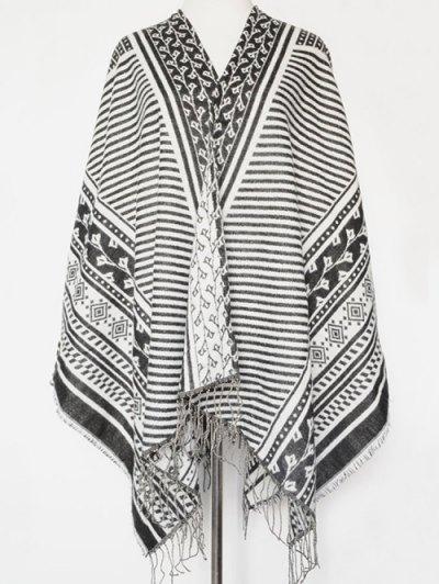 Flower Stripe Tassel Shawl Scarf