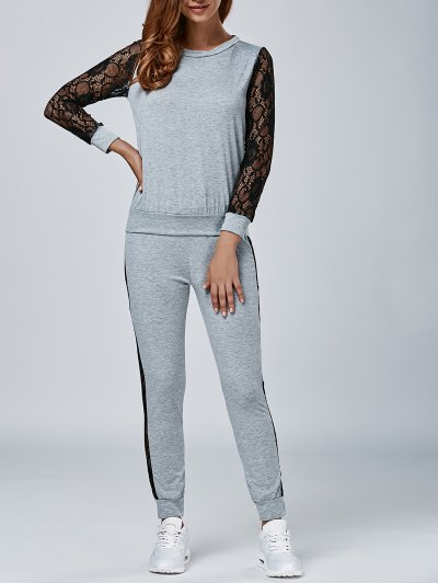 Lace Splicing Sweatshirt and Pants