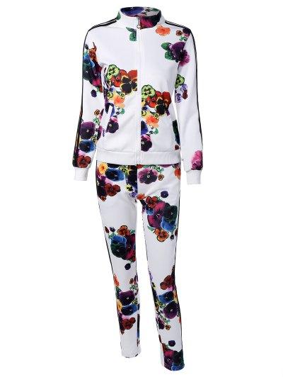 Flower Print Striped Sports Suit