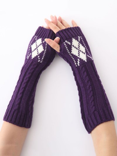 Hemp Decorative Pattern Diamond Crochet Knit Arm Warmers