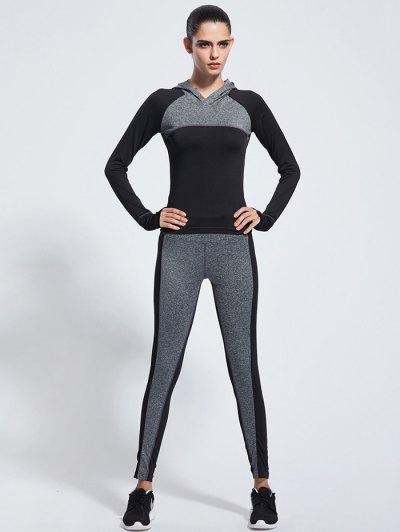 Skinny Color Block Yoga Hoodie With Pants