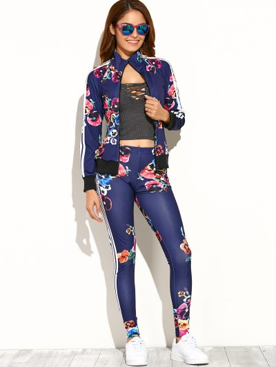 Print Zipper Up Top Pants