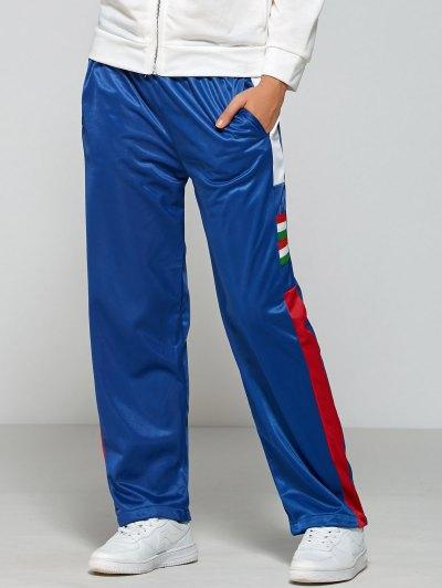 Elastic Waist Color Block Gym Pants