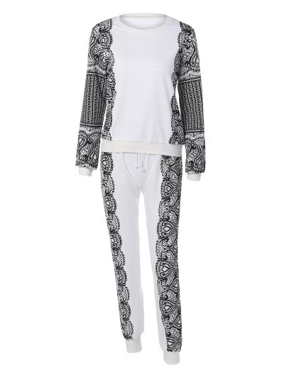 Print Sports Sweatshirt and Drawstring Casual Pants