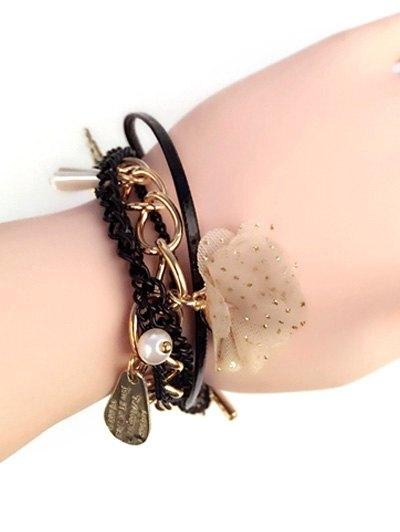 Faux Pearl Floral Embellished Bracelet