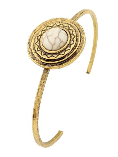 Faux Turquoise Circle Floral Cuff Bracelet
