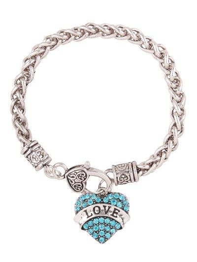 Rhinestone Engraved Love Heart Charm Bracelet