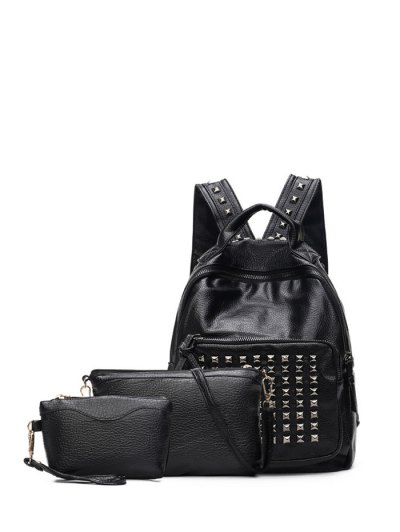 Metal Rivets Textured Leather Backpack