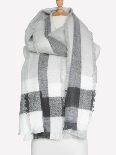 Check Pattern Fringed Scarf