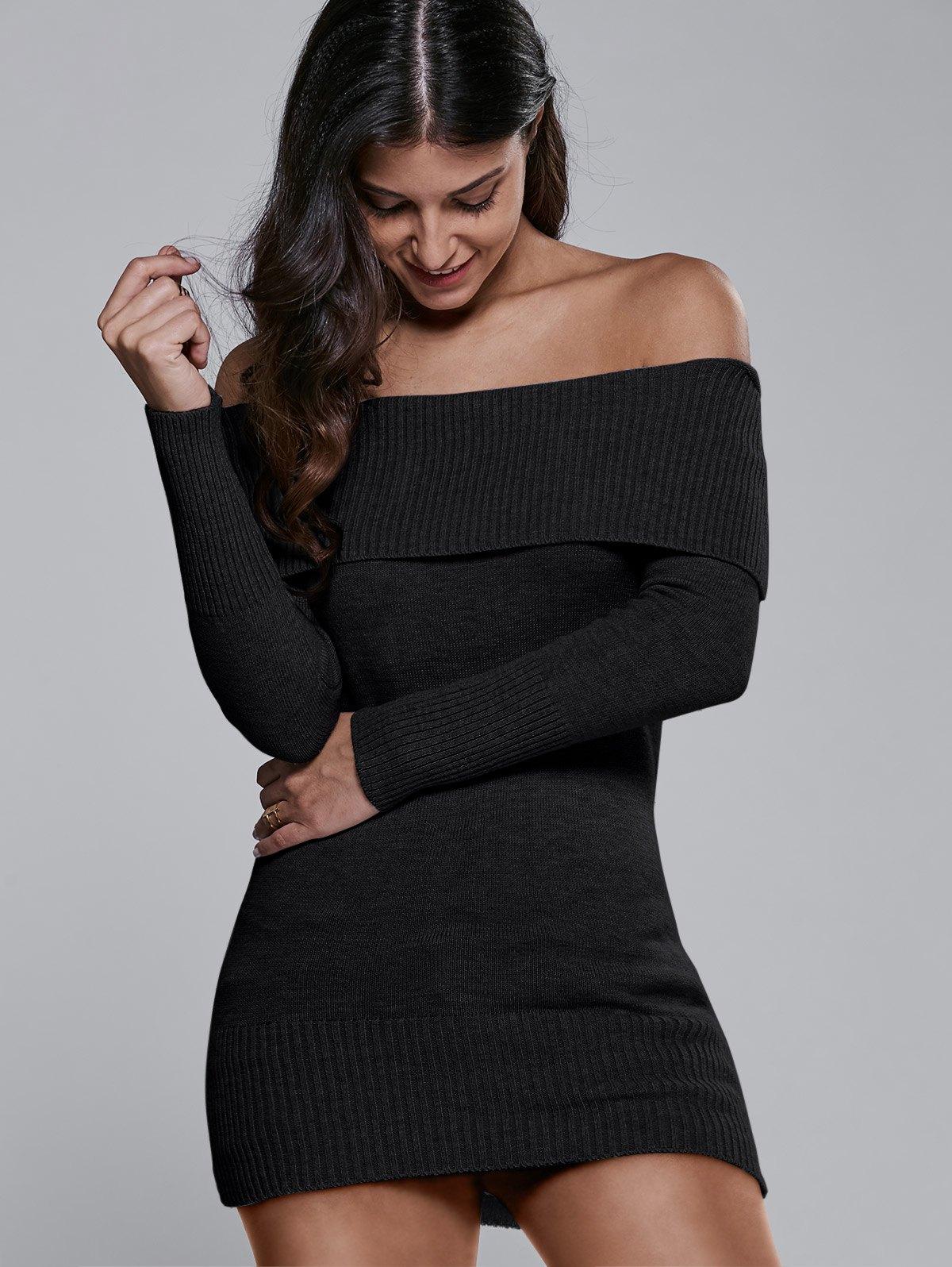 Off One Shoulder Black Sweater Dress