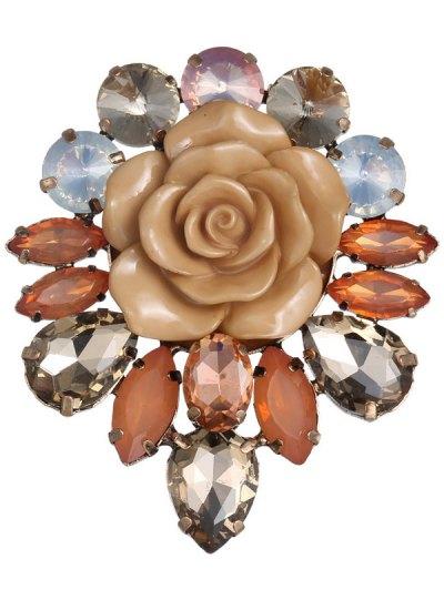 Faux Crystal Floral Brooch