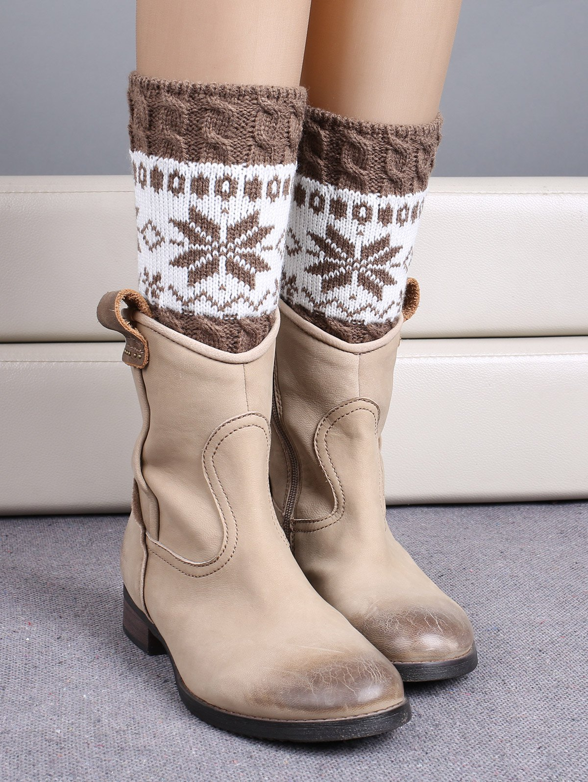Snowflake Jacquard Christmas Boot Cuffs