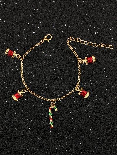 Christmas Bells Candy Cane Charm Bracelet