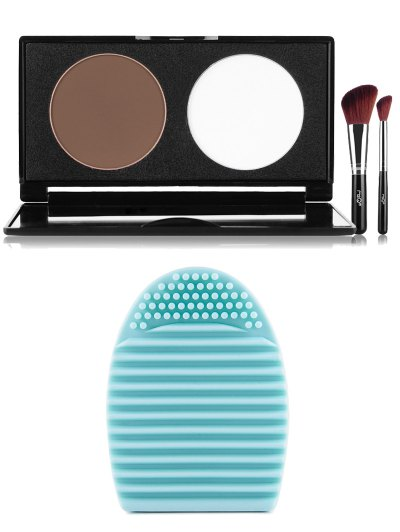 2 Colours Pressed Powder Kit Brush Egg