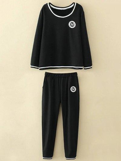 Applique Top and Elastic Waist Pants