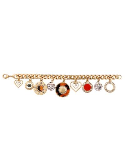 Rhinestone Heart Circle Charm Bracelet