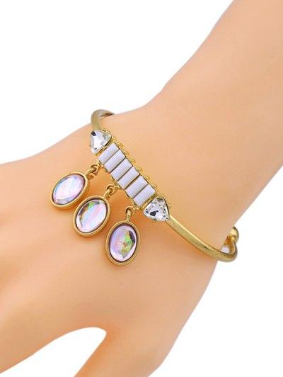 Artificial Gem Oval Cuff Bracelet