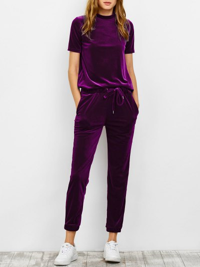 Velvet Short Sleeve Tee and Pants Sweat Suit
