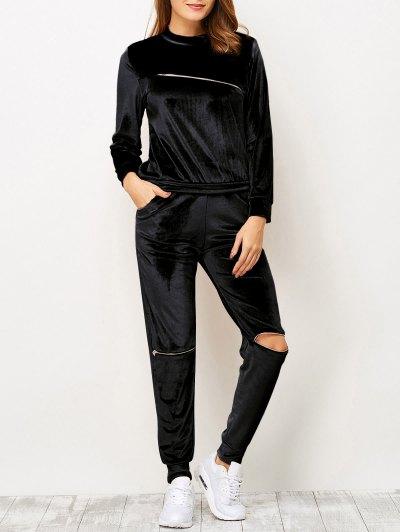 Velvet Zippers T Shirt and Sports Pencil Pants