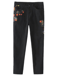 Slim Floral Embroidered Jeans