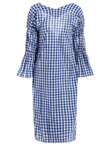 V Neck Back Low Cut Checked Dress - PLAID ONE SIZE
