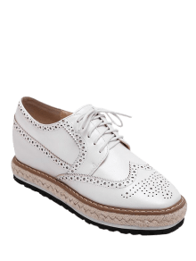 Wingtip Espadrilles Square Toe Platform Shoes